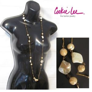 "Cookie Lee 40"" Long Necklace Shell Tiger Eye Gold"